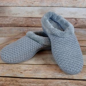 Dearfoam gray fur soft cozy slippers size 7/8